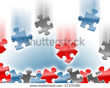Colorful falling puzzle pieces background design