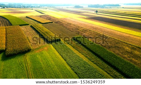 Colorful Farmland and Scenic Countryside. Aerial Drone view. #1536249359
