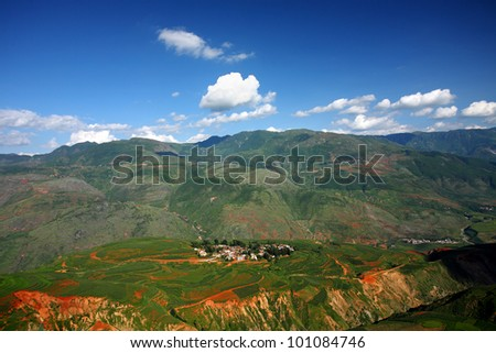 Colorful farmland with village,dongchuan,china
