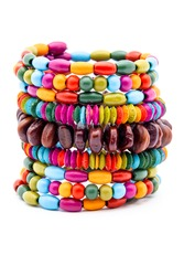 Colorful fashion bracelets on a white background