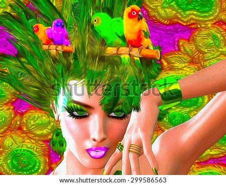 Stock Photo Colorful feathers, birds and floral patterns with a beautiful woman's face create this modern digital art look.