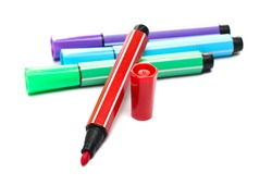 Colorful felt pen markers isolated on white background