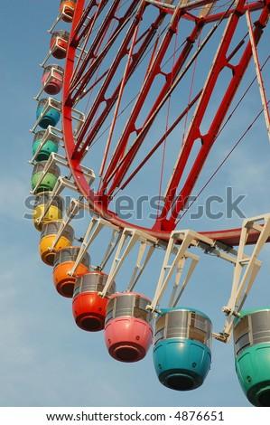 Colorful Ferris Wheel in Tokyo - stock photo