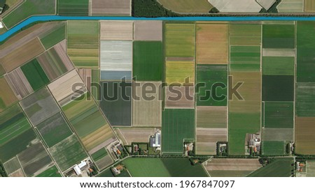 colorful fields bird's eye view, land consolidation and cultivated fields looking down aerial view from above, Amsterdam, Netherlands Stock fotó ©