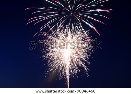 Colorful fire works in the dark sky