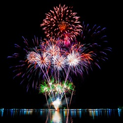 Colorful Firework light up in the sky at  Newyear