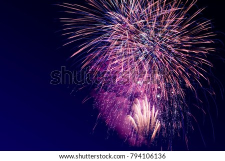 Colorful firework on the night sky. New Year celebration fireworks. Abstract firework isolated on the transition of blue and black background with free space for text #794106136