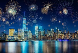 Colorful Fireworks above New York City Cityscape Celebrating New Years Eve