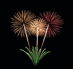 Colorful fireworks Bouquet - Fireworks Blast at 4th of July celebration in the United States