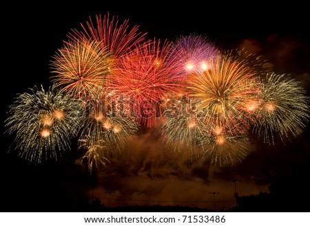 colorful fireworks display happy new year 2011 at Chiangmai province Thailand