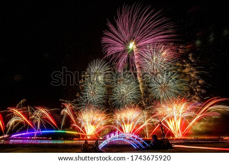 Colorful Fireworks Display on the night sky, Fireworks Festival;Guan-Yin-Ting;Penghu;Taiwan Stockfoto ©