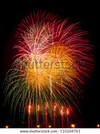Colorful fireworks displayed on January 1