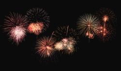 Colorful fireworks explosion on black background