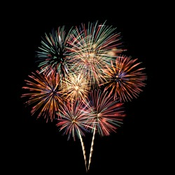 Colorful fireworks - Fireworks Blast at 4th of July celebration in the United States