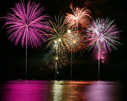 Colorful Fireworks for the Grand Finale over Lake