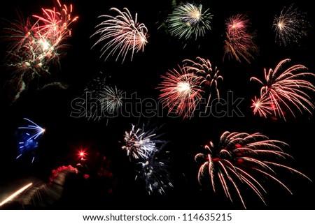 Colorful Fireworks in Black Sky - stock photo