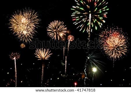 Colorful fireworks on black sky