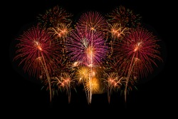 Colorful fireworks on the black background.