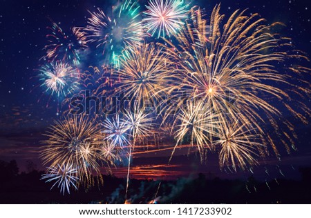 colorful fireworks on the night sky background. #1417233902