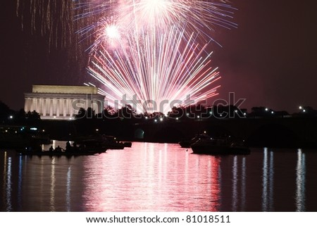 Colorful  Fireworks over Lincoln Memorial and Washington Monument