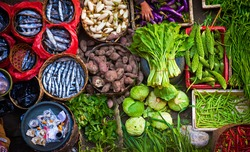 Colorful fish and vegetables can be purchased at the Ubud, Bali public market in the cultural heart of this fantastic Indonesian island.