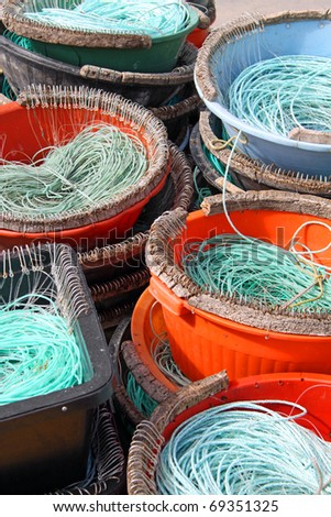 Colorful Fishermen ropes for line fishing