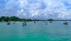 Colorful fishing boats and trawlers at a sea in Sri Lanka. Srilanka Tourism