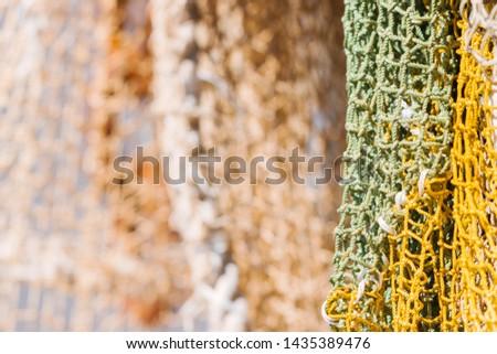 colorful fishing nets. Marine background