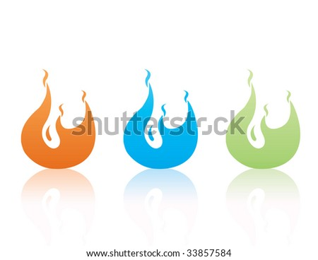Colorful flames set - stock photo