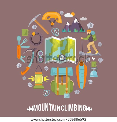Colorful flat icons set. Quality design illustrations, elements and concept. Climbing icons. Set #3