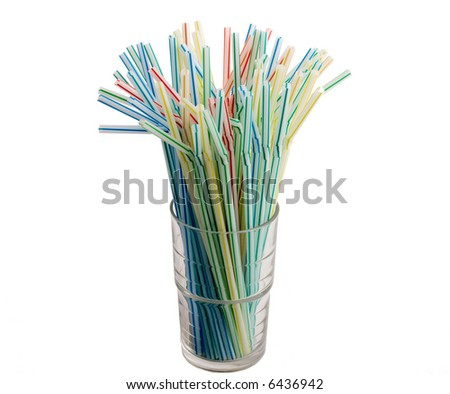 colorful flexible drinking straws in glass