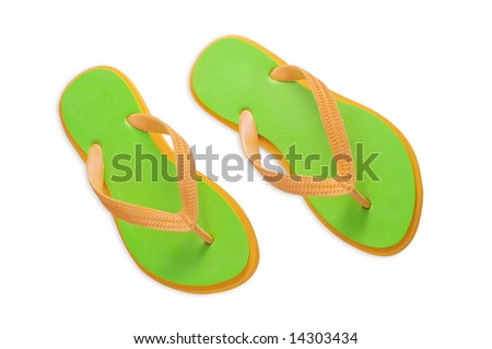Colorful flip flops isolated on a white