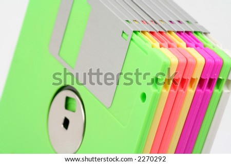 Colorful Floppy Colorful Floppy Disks Close up
