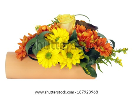 Colorful floral arrangement isolated on a white background