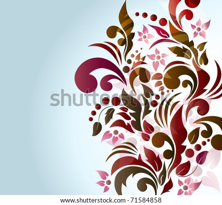 Colorful floral background, raster illustration