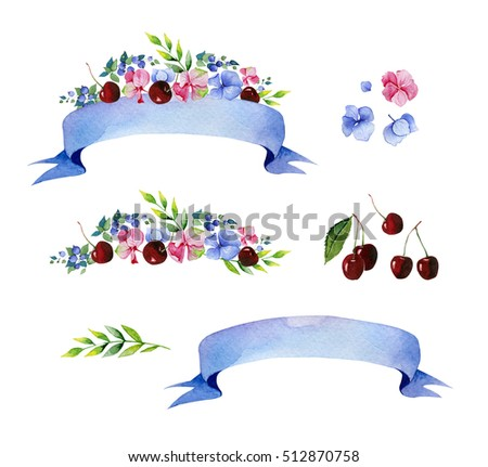Colorful floral collection with multicolored flowers,leaves,cherry,branches,berries,ribbons and more. beautiful pre-made logo template for your own design.Perfect for wedding,thanksgiving invitations