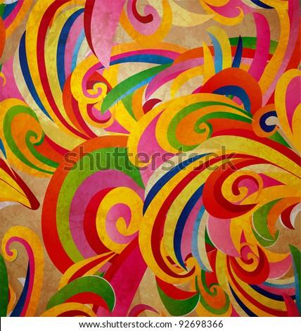 colorful floral curves vintage paper grunge background - stock photo