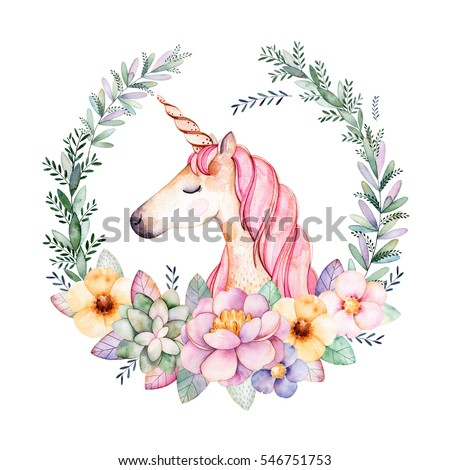Colorful floral pastel template card with peony,flowers,leaves,succulent plant,branches,eucalyptus leaves and cute unicorn.Perfect for wedding,quotes,Birthday and baby cards,greeting cards,print,blogs