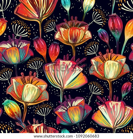 Colorful floral pattern. Wallpaper with big illustration flowers. Hand drawn plants