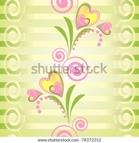 Colorful floral seamless pattern. Pink flower heart and Green strips background.