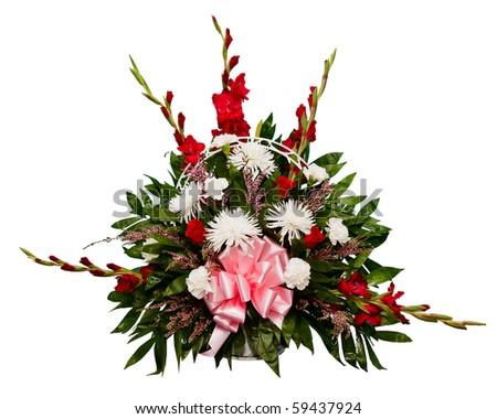 Colorful flower arrangement in basket isolated on white