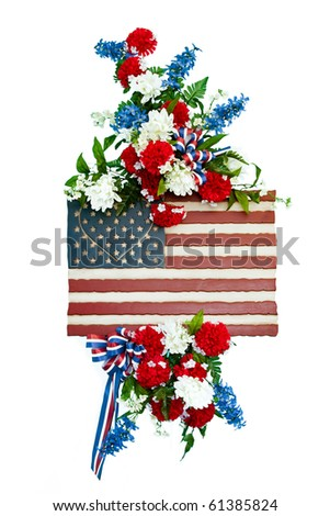Colorful flower arrangement with patriotic design.