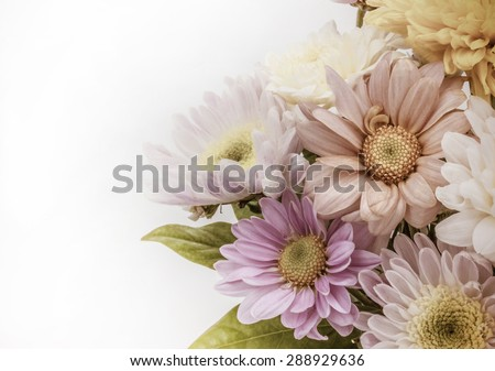 Colorful flower bouquet arrangement in vase isolated on white background - vintage effect filter