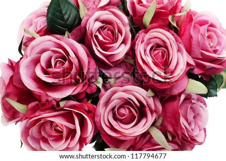 colorful flower bouquet from artificial roses a isolated on white background