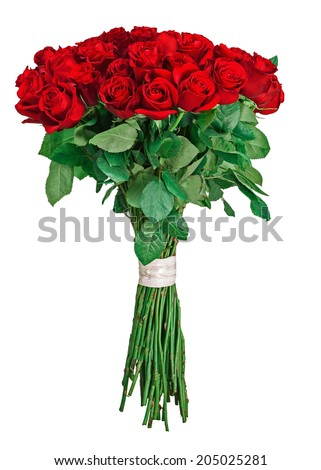 Colorful flower bouquet from red roses isolated on white background. Closeup.