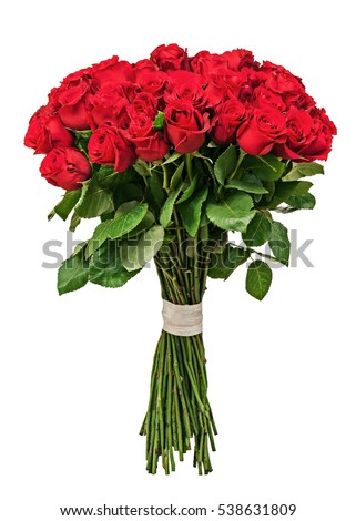 Colorful flower bouquet from red roses isolated on white background. Closeup. #538631809