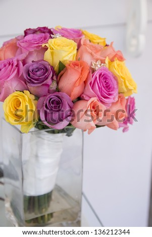 colorful flower bouquet in wedding day