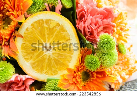 colorful flower bouquet with half of orange