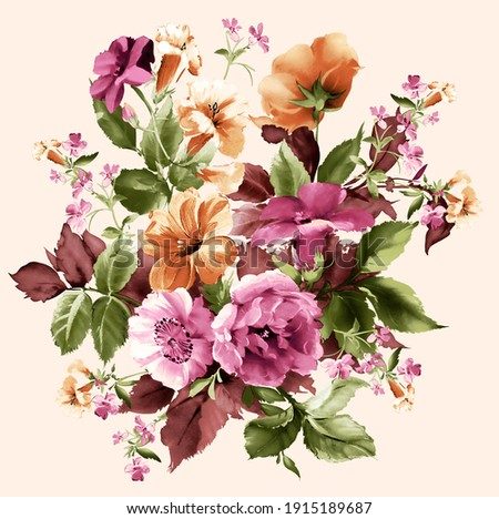 Colorful flower bunch. Romantic Flowers. Pink rose. Beautiful Seamless Background with Spring and Summer Flowers. Stock photo ©