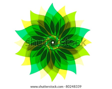colorful Flower made of stacked, green blueish tinted glass / Sunflower eco